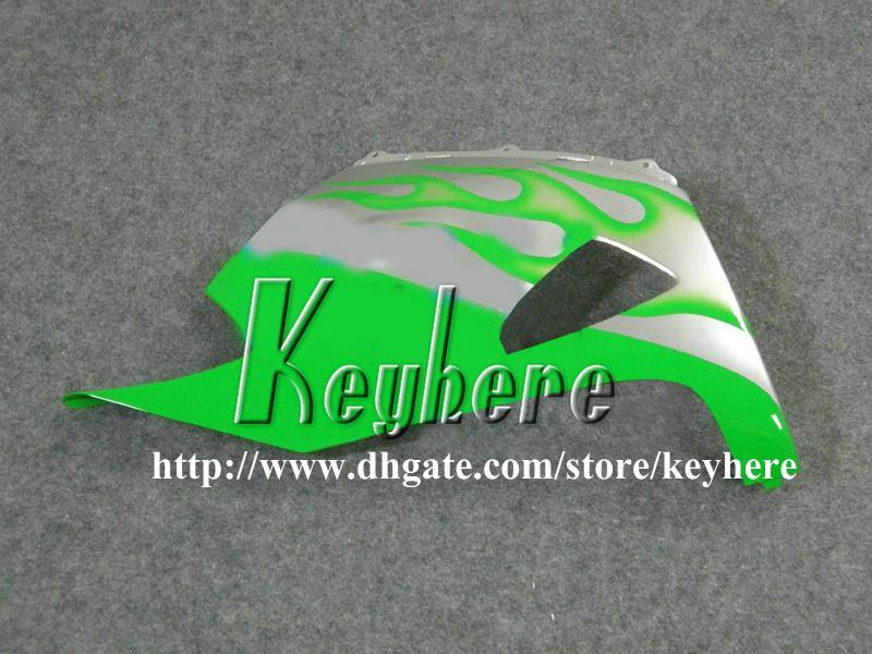 Kit de carénage gratuit pour 7 cadeaux pour Kawasaki Ninja ZX-14R 06 07 08 09 ZX14R 2006 2007 2008 2009 Carénages de carénages verts ZX 14R G3m flammes argentées