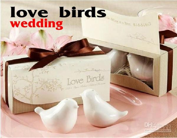 Creative Lovebirds Cruet Salt Pepper Shakers Favores de boda Regalos (juego de 2) Tema romántico Envío gratis