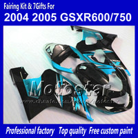 Wholesale K4 Fairings - 7 gifts custom glossy water blue black bodywork fairings for SUZUKI GSXR 600 750 K4 2004 2005 GSXR600 GSXR750 04 05 R600 R750 ABS fairing