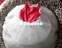 jolie robe de chien rouge achat en gros de-CUTE Polka Dot DENTELLE Petit Chien Chat Chiot Vêtements robe taille XS S M L-rouge et blanc