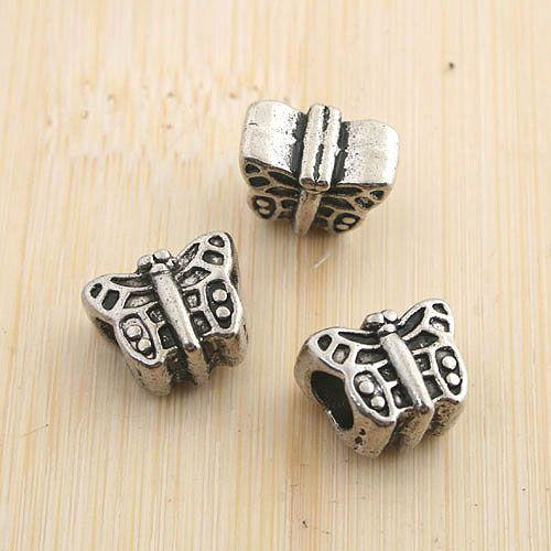 Perline distanziatore a farfalla 18 pezzi anticato argento 18 pezzi G1353