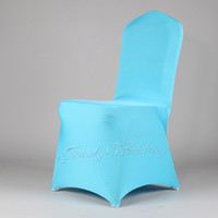 Wholesale Blue Spandex Chair Covers - Free shipping 1 piece aqua Blue spandex chair cover High quality lycra chair cover for wedding or banquet party