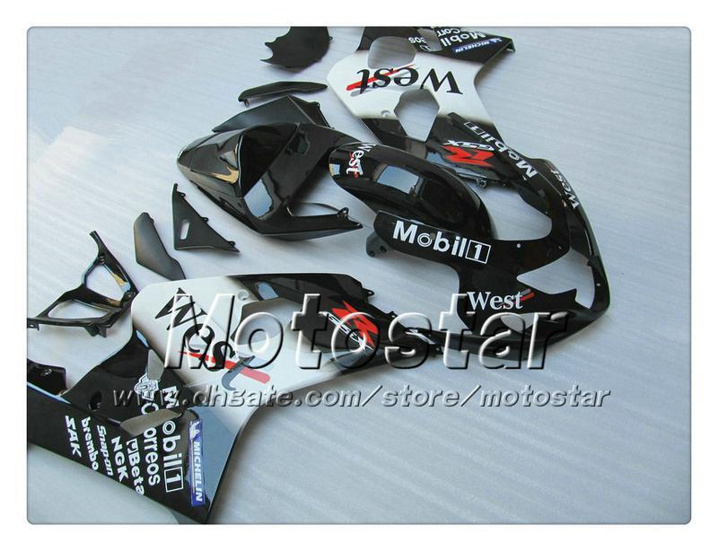 Black West Bodywork Fairings Suzuki GSXR 600 750 K4 2004 2005 GSXR600 GSXR750 04 05 R600 R750 ABS Fairing SS20