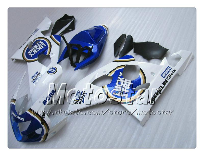 Kit de carenagem para SUZUKI GSXR 600 750 K4 2004 2005 GSXR600 GSXR750 04 05 R600 R750 azul brilhante Lucky Strike Carenagem ABS