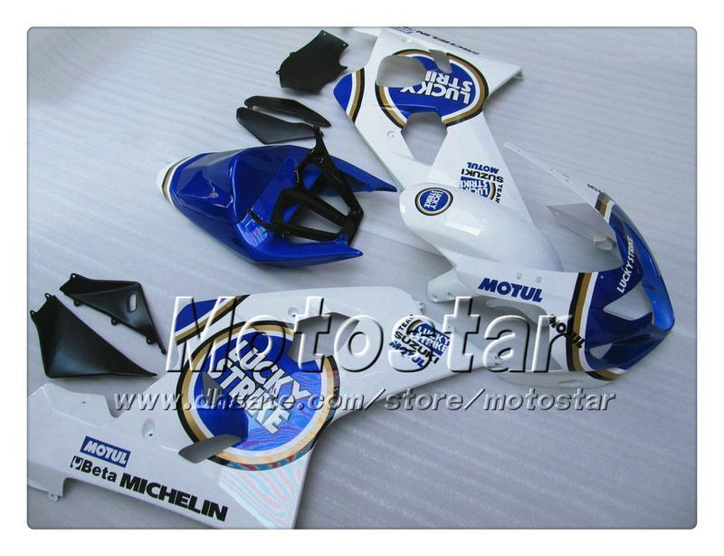 Kit de carenado para SUZUKI GSXR 600 750 K4 2004 2005 GSXR600 GSXR750 04 05 R600 R750 brillante azul Lucky Strike ABS carenado