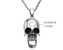 Wholesale Crystal Skulls For Sale - MIX ORDER Stock Price For Long Term Partnership Free Shipping HOT Sale 316L Stainless Steel Big Mouth Skull Necklace 10pcs lot