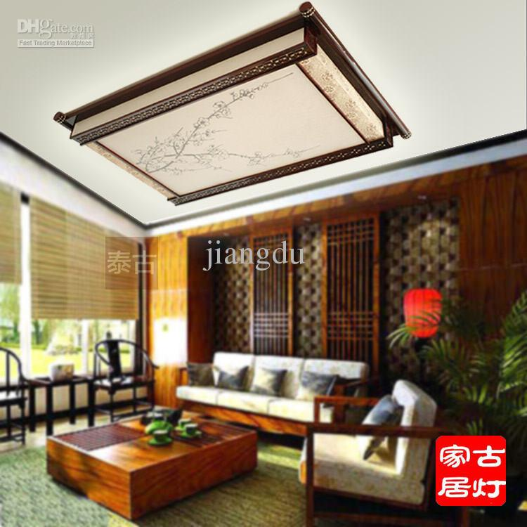 Modern Chinese Style Lamps Wooden Lamp Living Room Lights Antique Wood Faux Lighting Ceiling Light