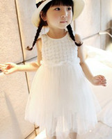 Wholesale Tutu Skirt White Rose Princess - Girl 's white rose flower dress veil dress Princess dress skirt children's dress 2 colours,100-150