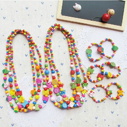 Wholesale Kids Animal Necklaces - Brand new baby children animal heart wood necklace & bracelet set handmade jewelry set kids gift wholesale hot sale mixstyle