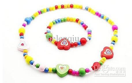 Brand new baby children animal heart wood necklace & bracelet set handmade jewelry set kids gift wholesale hot sale mixstyle