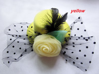 Wholesale Wedding Hair Decorations Hats - Brand new hair cap clip hair decorations with rose feather flower Royalty wedding party gift hats wholesales
