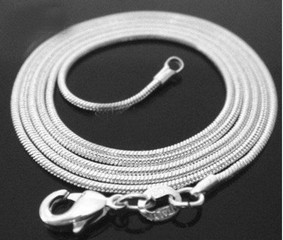 Promotie 100 stks / partij van 925 zilver 1mm Snake Chain ketting 16 inch ~ 24 inch