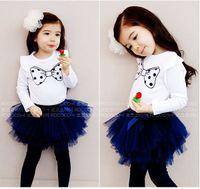 Wholesale Long Sleeve Pettiskirt Dresses - Girls Butterfly suits set Bow Long sleeve t-shirt + dresses leggings TUTU pettiskirt set baby girl outfit clothing Children's Outfits & Sets