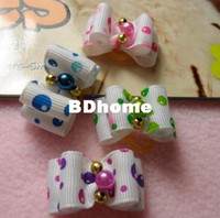 Wholesale pc lovely pet accessories fashion dogs hair bows with imitated pearl dog hair band pink blue green purple