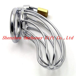 Wholesale Sex Padlock Chastity - Male Stainless Steel Chastity Devices with Padlock & Ring Chastity Belt Hand-polished Cock Cage Penis Cage Sex Toys for Men M500