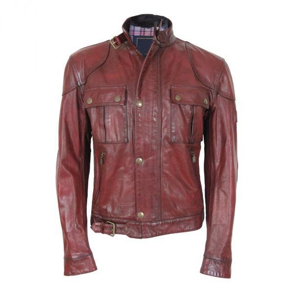 2017 Designer Men Leather Jacket Noble Red Brown Leather Jacket ...