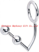 Wholesale Double Anal Hook Metal - New Stainless Steel Double Anal Sex Ball Double Stuff Anal Intruder Cock Ring Anal Plug Anal Hook with Cock Ring SM438