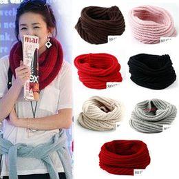 Wholesale Wholesale Knit Cowls - Fashion Women Ladies Girls Warm Knit Neck Circle Wool Blend Cowl Snood Scarf Shawl Wrap Free Shipping