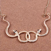 Wholesale Vintage Goth Biker - Free Shipping Vintage Punk Goth Biker Style Twisted   Coiled Crystal Eyes Snake Charm Necklace