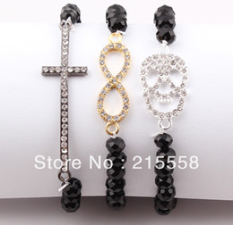 Wholesale Stretch Sideways Beads Bracelet - Fashion Jewelry Black Crystal Beads Sideways Cross Infinity Skull Charm Elastic Stretch Bracelet