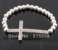 Wholesale Sideways Metal Cross Bracelet - Fashion Jewelry Metal Beads Sideways Bracelet Crystal Cross Fairy Skull Charm Elastic Stretch Bracelet ZB010