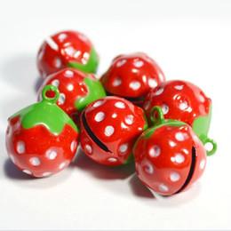 Wholesale Jingle Beads - Dia 17*21mm Pink Red Strawberry DIY Bracelet Bells Beads Bright Christmas Jingle Bells Party Favors 50pcs lot XD115