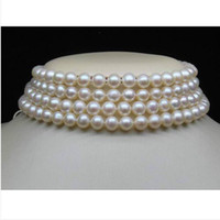 Wholesale Pearl Choker Necklace Row - 4-Row 7-8MM AAA White Choker Pearl Necklaces 14.5-17 inch long