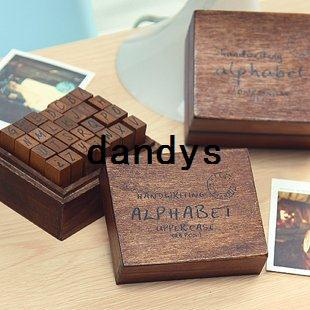 best selling Free Shipping NEW 28pcs set Creative letters & number stamp set with wooden box   Decorative DIY work
