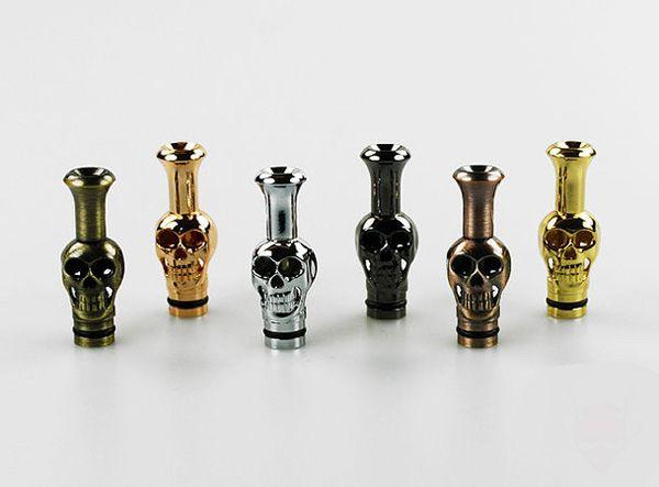 Electronic Cigarette Hot Metal Drip Tips Ego Skeleton Shape Skull Style Mouthpiece Fit EGO Vivi Nova Tank DCT EE2 510 Thread