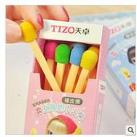 Wholesale Mini Eraser Rubber - Wholesale,New Creative Cute The Selling Match Girl Mini Eraser Rubber Special Gift Eraser Set Freeshipping (1box=8pieces)