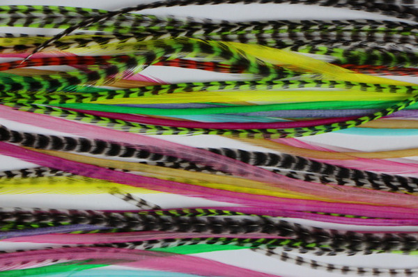 10pcs colorful feather hair extension 7-14inch 100% Real Grizzly Thin Rooster Feather hair extensions For Party feather hair supplier