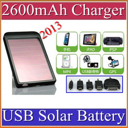 Battery Chargers For Cell Phones Canada - 2600mAh USB Solar Battery Panel Charger for Phone MP3 MP4 PD with retail box 100pcs lot