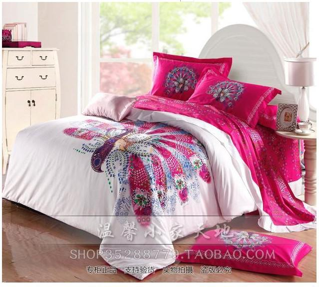 Peacock Bird Feather Hot Pink Bedding Sets Queen Size Duvet Cover Quilt Bed  In A Bag Sheets Bedspreads Bedsheets Bedroom Linen 100% Cotton Cotton Duvet  ...