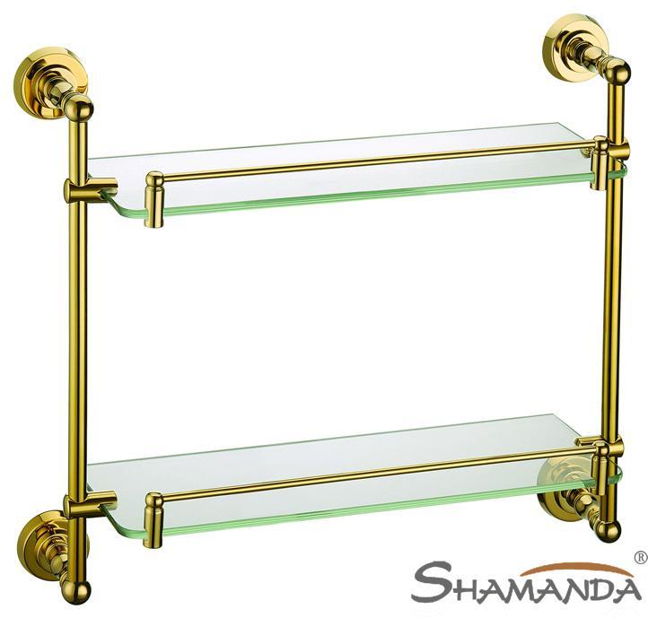 Bathroom Accessories Glass Shelves double bathroom shelf /glass shelf,brass made with golden finish