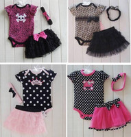 Wholesale Purple Plaid Skirt Girls - Little Girl 3 PCS Set Leopard Romper Bodysuit & Ruffled Skirt Dress & Headband Bow,Climb clothes ,Romper+hair band+skirt 3 pieces=1 set 6s l