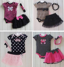 Wholesale Wholesale Little Girl Skirts - Little Girl 3 PCS Set Leopard Romper Bodysuit & Ruffled Skirt Dress & Headband Bow,Climb clothes ,Romper+hair band+skirt 3 pieces=1 set 6s l