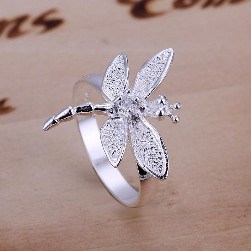 Silver Ring Inlaid Stone Dragonfly Fashion Hot European Style Ring ...