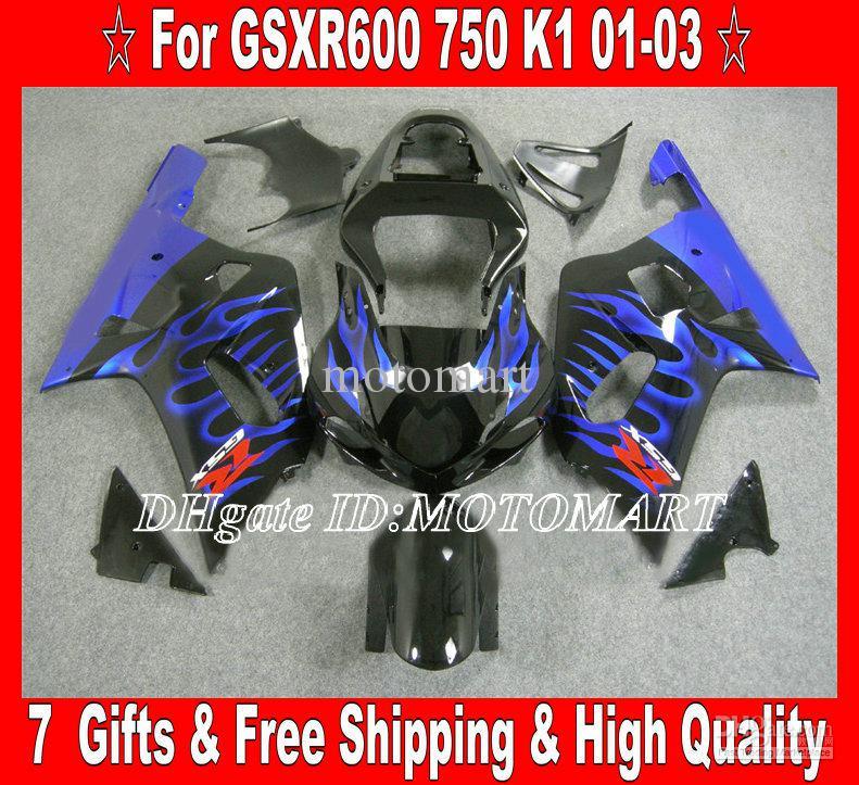 Kit de carénage pour 2001 2002 2003 SUZUKI GSXR600 750 GSXR 600 GSXR 750 K1 01 02 03 carénages flammes bleues SA62