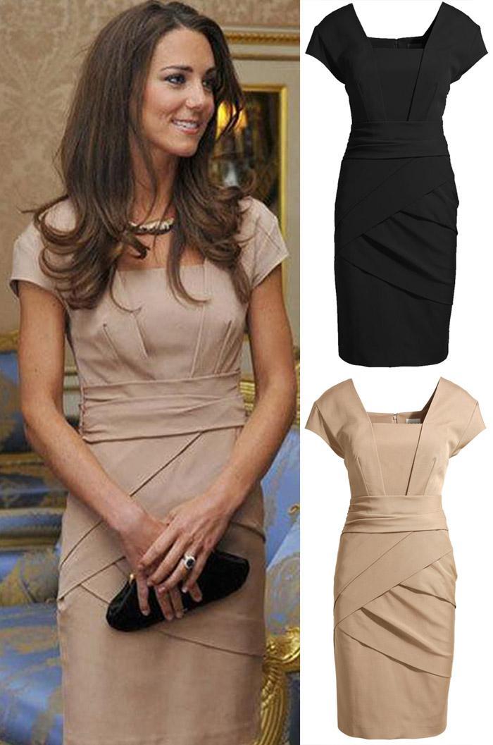 Vestido del vendaje de las mujeres atractivas del verano del resorte Kate Middleton vestidos de la celebridad vestido elegante del trabajo de Bodycon del trabajo de la señora OL