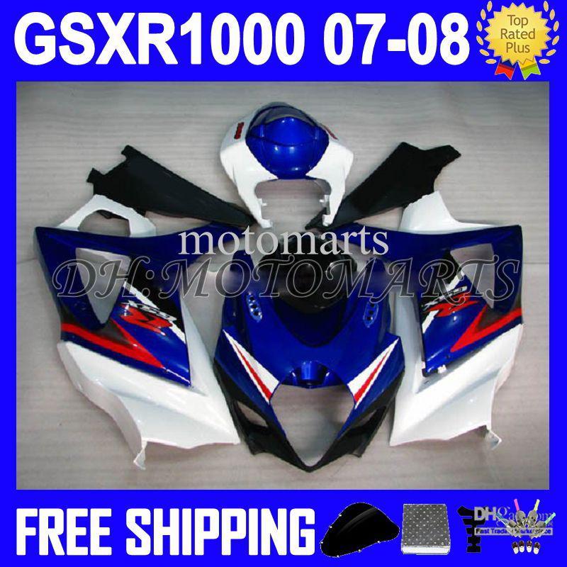 7 gratis geschenken 100% nieuw heet blauw wit voor Suzuki! K7 07 08 GSX R1000 GSXR 1000 Blauw Wit GSX-R1000 K7 MTS907 GSXR1000 2007 2008 Kuip