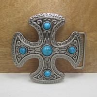 Wholesale Antique Silver Belt - BuckleHome Cross belt buckle religious belt buckle FP-03259 with antique silver finish with continous stock free shipping