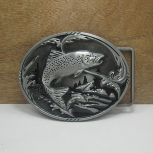 BuckleHome Fish belt buckle western belt buckle FP-03265 with pewter finish with continous stock free shipping