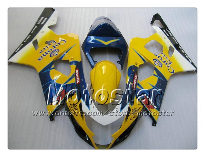 7 presentes Bodywork Feeterias para Suzuki GSXR 600 750 K4 2004 2005 GSXR600 GSXR750 04 05 R600 R750 Amarelo Azul Corona ABS FairingTT29