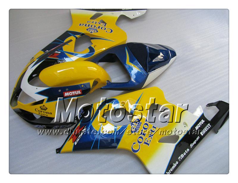 7 gifts bodywork fairings for SUZUKI GSXR 600 750 K4 2004 2005 GSXR600 GSXR750 04 05 R600 R750 yellow blue Corona ABS fairingTT29