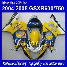 Argentina 7 carenados de carrocerías de regalos para SUZUKI GSXR 600 750 K4 2004 2005 GSXR600 GSXR750 04 05 R600 R750 azul amarillo Corona ABS carenadoTT29 cheap yellow blue fairing Suministro
