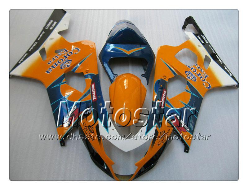 7 carenados de la carrocería de regalos para SUZUKI GSXR 600 750 K4 2004 2005 GSXR600 GSXR750 04 05 R600 R750 naranja azul Corona ABS carenadoTT34