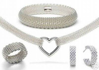 Wholesale Mesh Bracelets China - Gorgeous Top Quality noble 925 silver Charm mesh Lady Earring Ring Bracelet Necklace set jewelry factory price