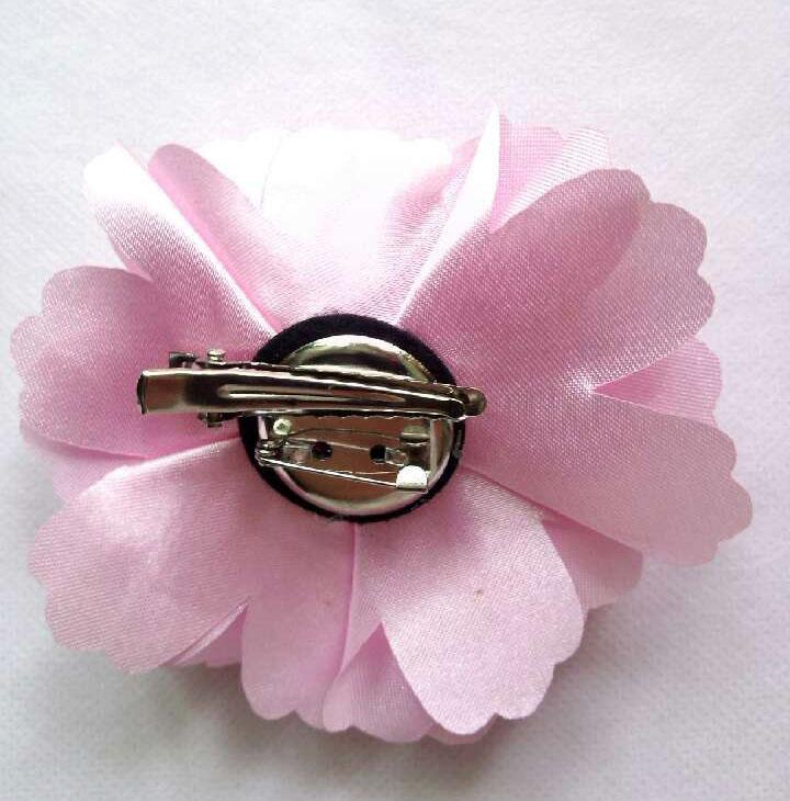 Moda de nova comum camélia rosa flor grampos de cabelo de cetim de seda Chiffon flores grampos de cabelo Brooh Pin Headwear buquê de fita de preço por atacado