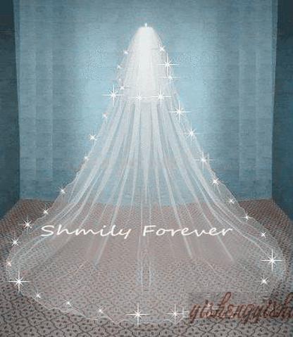 Laagste $ 18 Top Crystal gratis verzending prachtig wit / ivoor bruiloft sluier 2 tier kathedraal bruids sluiers bruid lange sluier met kam hoge kwaliteit