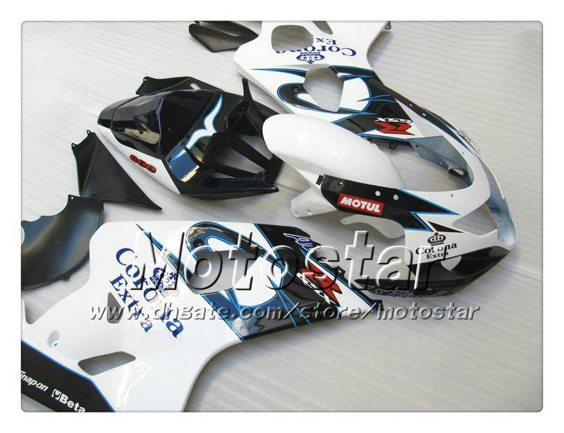 Ferigaduras de trabajo corporal para Suzuki GSXR 600 750 K4 2004 2005 GSXR600 GSXR750 04 05 R600 R750 R750 Gllossy White Blue Corona Juego de carenado